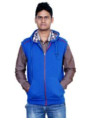 Neva Blue Hooded Fleece Sweatshirts For Men's
