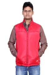 Neva Red Non Hooded Sleeveless Jackets For Men's