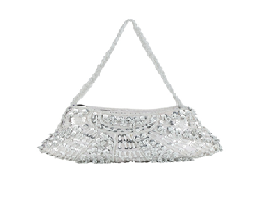 Port Exclusive Silver Embroidered Clutch
