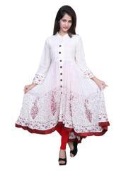 Port White Cotton Embroidered Women's Casual Kurti