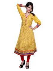 Port Yellow Cotton Printed Women's Casual Kurti