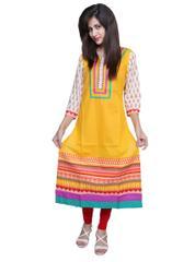 Port Yellow Cotton Women's Casual Kurti