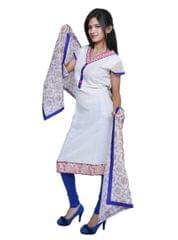 Port White Printed Women's Salwar Suit
