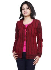 Neva Maroon Woolen Buttoned Cardigans For Womens