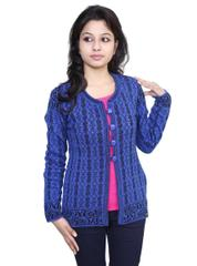 Neva Blue Woolen Buttoned Cardigans For Womens