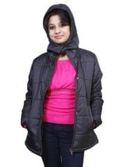 Neva Black Hooded Zippered Women's Jackets