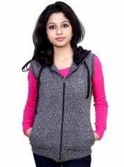 Neva Grey Fleece Sleeveless Sweatshirts For Women's