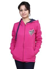 Neva Pink Fleece Hooded Sweatshirts For Women's