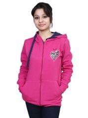 Neva Pink Fleece Hooded Sweatshirts For Women's