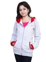 Neva Grey Fleece Hooded Sweatshirts For Women's