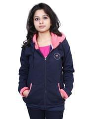 Neva Navy Blue Fleece Hooded Sweatshirts For Women's