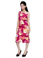 Port Casual Maroon Floral Printed Dresses