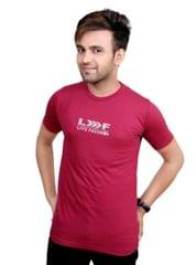 Neva Casual Maroon Round Neck T-Shirts For Men's