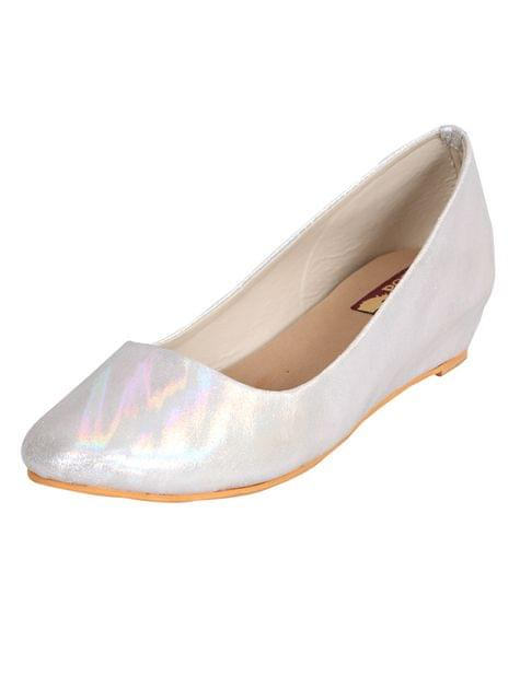 Port Silver Wedge ballerinas For Women's