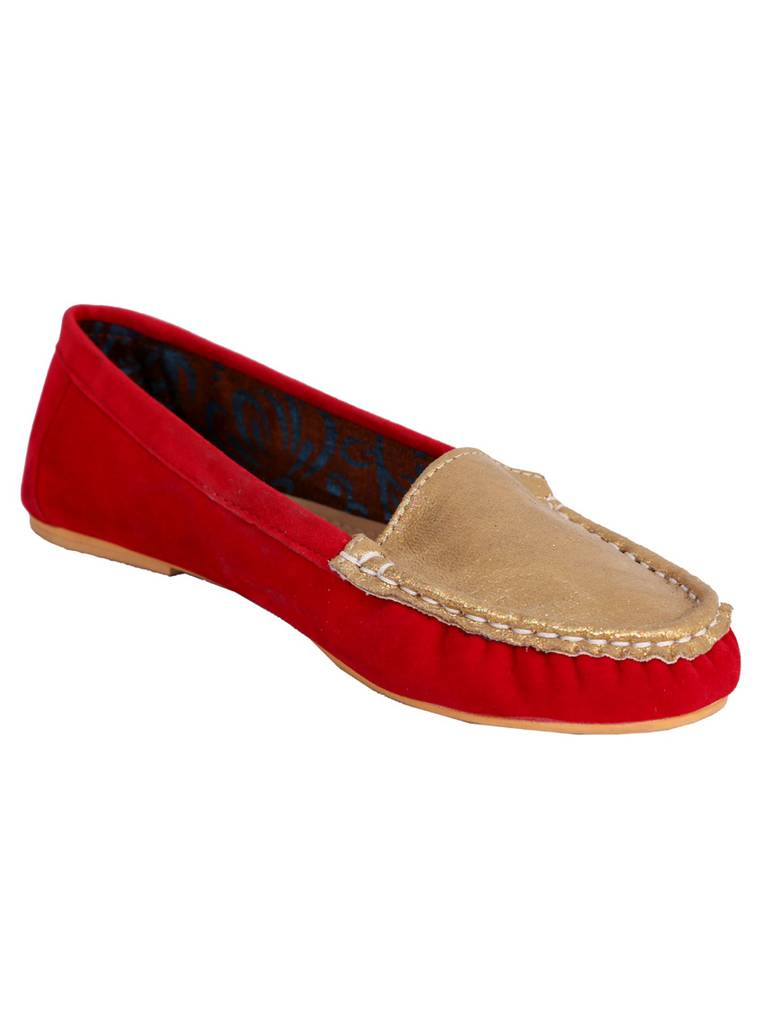 Port Casual Red Suede ballerinas For Women's