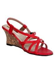 Port Red Wedge Sandals  For Womens