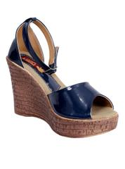 Port Navy Blue Wedge Sandals For Women's