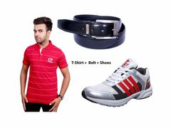 Port Combo pack of 3(Neva Tshirt,belt,Port Shoes)