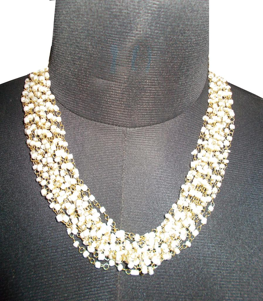 Port Exclusive Handmade Beige Beaded Necklace
