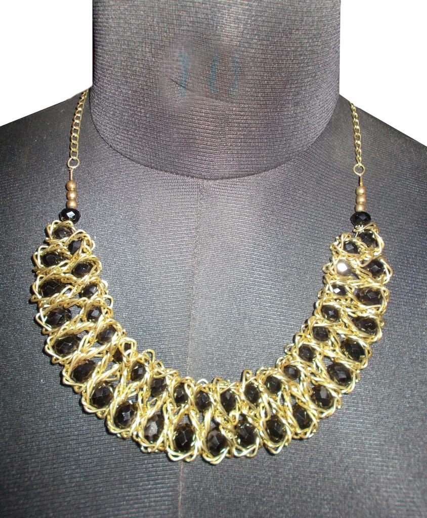 Port Exclusive Gold & Black Beaded Necklace