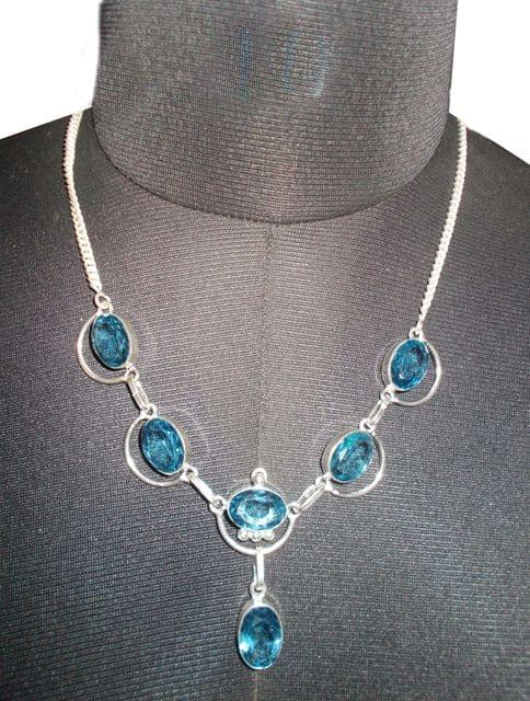 Port Exclusive Handmade Silver Plated Cerulean Gem Stones Necklace