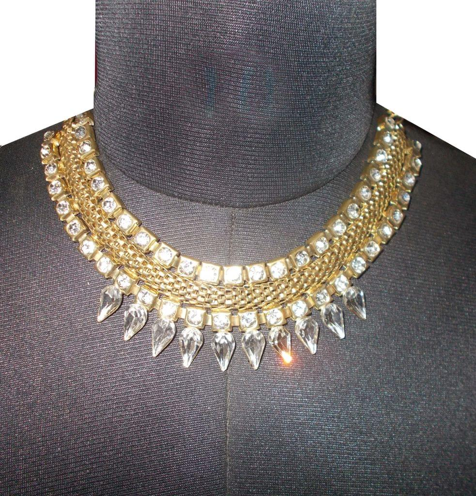 Port Exclusive Gold Plated Crystal Stones Studded Necklace