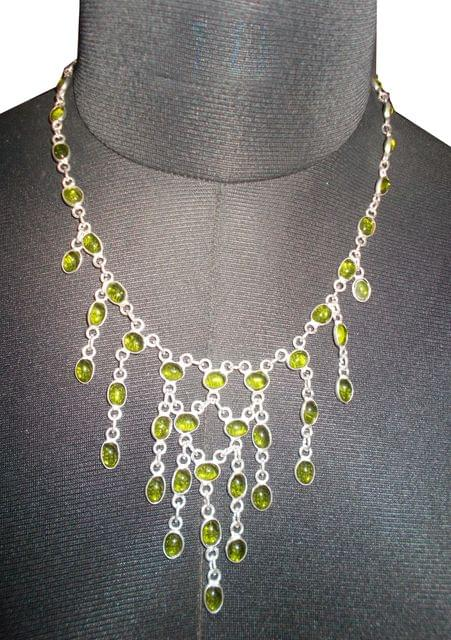 Port Exclusive Silver & Green Gems Studded Necklace