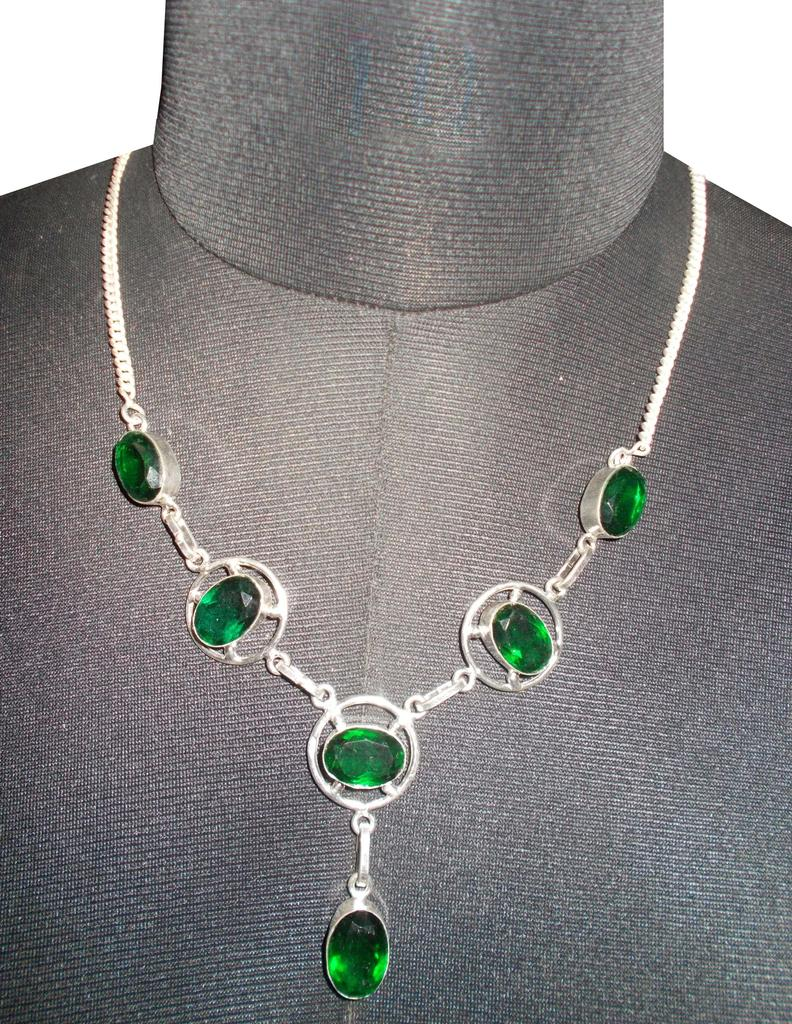Port Exclusive Silver Plated Bottle Green Gems Studded Necklace