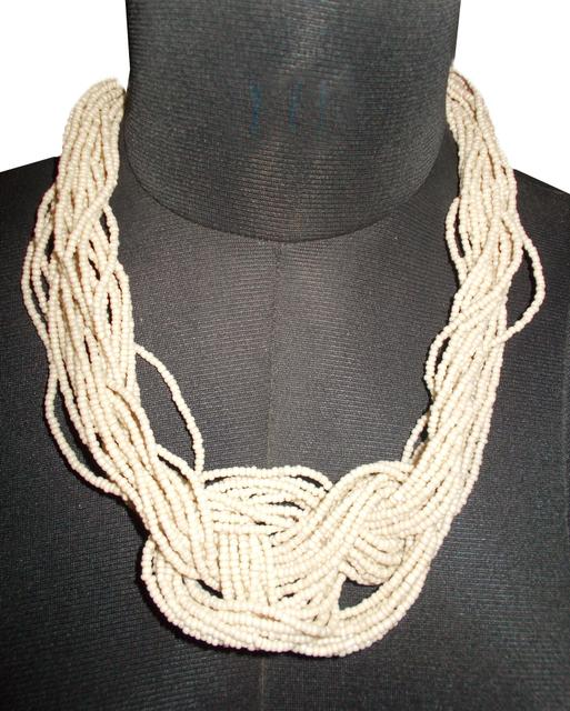 Port Exclusive Handmade Twisted Beige Beaded Necklace