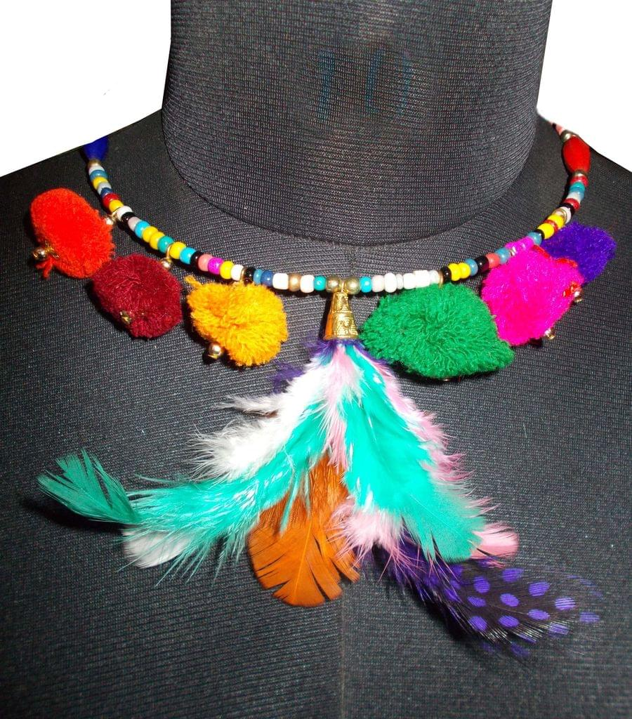 Port Exclusive Multicolored Feathered Necklace