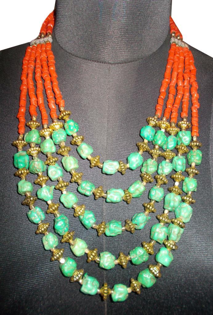 Port Exclusive Handmade Orange &  Green Beaded Necklace