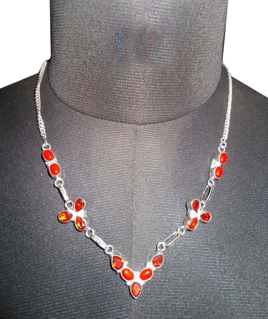 Port Exclusive Silver Plated Red Stone Studded Necklace