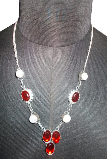 Port Exclusive Silver Plated Red & White Gemstones Studded Necklace