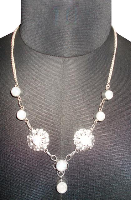 Port Exclusive Silver Plated White Gemstones Studded Necklace