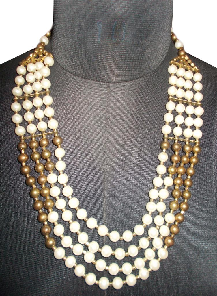 Port Exclusive Gold & White Pearl Studded Necklace