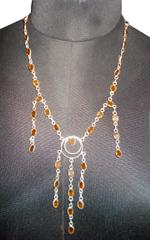 Port Exclusive Silver Plated Yellow Stone Studded Necklace