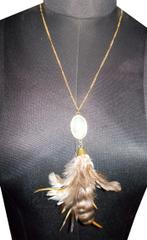 Port Exclusive Beige Stone Feather Pendant With Gold Plated Chain