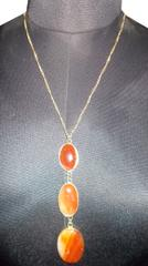 Port Exclusive Orange Gemstone Studded Pendant With Gold Plated Chain