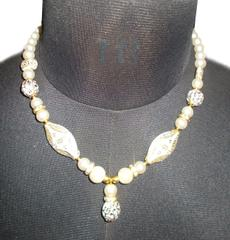 Port Exclusive Beige Pearl Studded Necklace