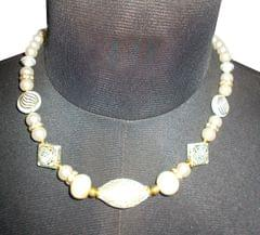 Port Exclusive Beige Pearl Studded Necklace Sets