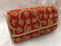 Sankalp Designer Red & Gold Embroidered Clutch