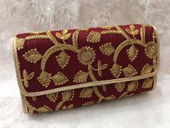 Sankalp Designer Wine & Gold Embroidered Clutch