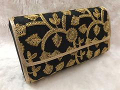 Sankalp Designer Black & Gold Embroidered Clutch