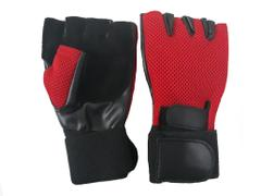 Port Red & Black Leather Weight Lifting Finger less Gym gloves