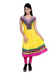 Port Women's Embroiderd Multicolor Anarkali Dress