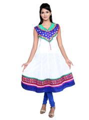 Port White Anarkali Women's Dress