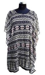 Port Black Printed Chiffon Kaftans For Women's