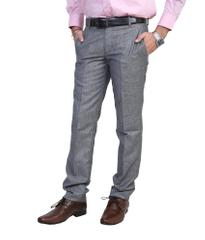 Peter England Grey Regular Flat Trousers