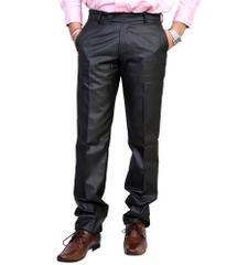 Peter England Black Slim Flat Trousers