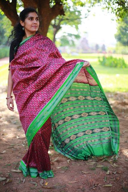 "Magical - Full body Green Weaves on Magenta ""Saree"""